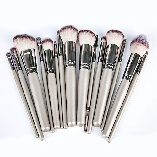 HFDXG Lot de 15 pinceaux de maquillage professionnels pour fard à paupières, Fibre synthétique., Argent (Silver), 15 Pcs
