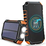 Hiluckey Solar Charger 26800mAh, Wireless Portable Charger 18W PD USB C Power Bank with 4 Outputs and LED Flashlight, Fast Charging Camping External Battery Pack for iPhone, Android Smartphones etc