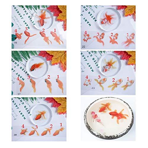 bibididi 5 Blatt 3D Gold Fisch Aufkleber, DIY Kristall Epoxidharz Aufkleber Goldfisch Aufkleber Handwerk Handwerk Dekoratives Material