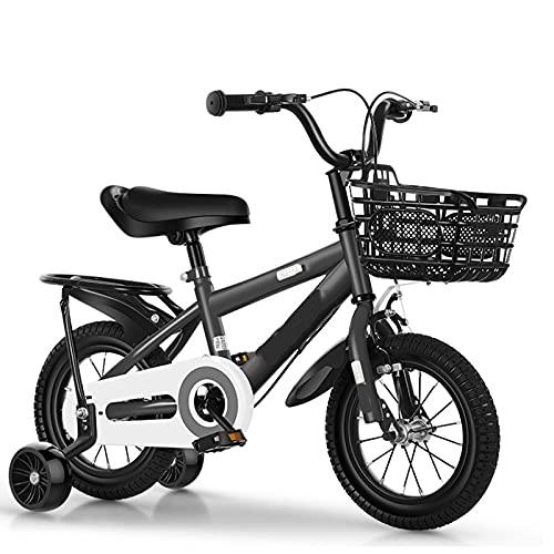 WJS Bicicletta per Bambini Ragazza Ragazzo,Bici per Bambini,Bicicletta Bambina 2-12 Anni,Bici 12 14 16 18 Pollici Bambino,con Le Ruote Bicicletta per Bambini(Size:16inch,Color:Dark Grey)