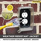 Thonapa 3 Foot Lighted Outdoor GFCI Extension Cord - 12/3 SJTW Heavy Duty Yellow Pigtail Extension Cable with 3 Prong Grounded Plug for Safety