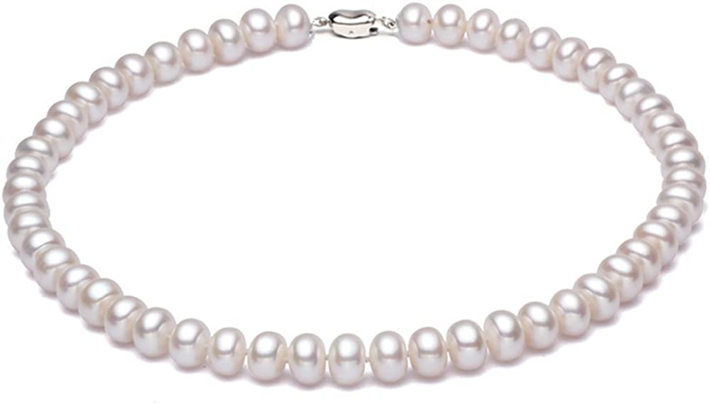 JYX Pearl AA Quality Classic White Cultured Freshwater Pearl Necklace Choker 16