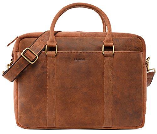 LEABAGS Istanbul Leder-Umhängetasche I Laptoptasche 15 Zoll I Messenger Bag aus echtem Büffel-Leder I Aktentasche I Vintage Ledertasche I Bürotasche I Arbeitstasche I 40x31x12cm (Rouge)