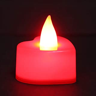 Mobestech 12pcs Flameless Candles Heart Shape Tealight LED Electronic Candle Lamp Battery Operated Candles Home Rooom Deco...