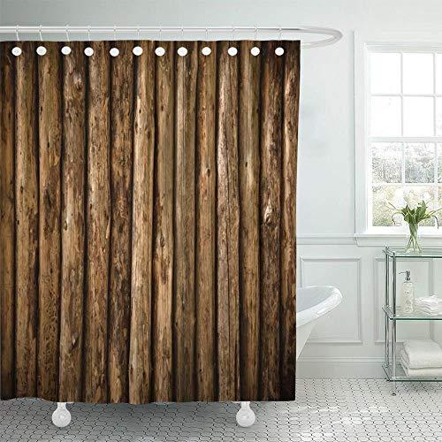 TYZM Cortinas de Ducha de Madera de Pared de Troncos de cabaña marrón de construcción Antigua Tela de poliéster Impermeable 60 x 72 Pulgadas con Ganchos