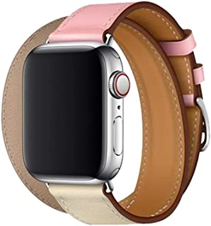 JL-Band Compatible for Apple Watch Band 38/40/42/44mm Leather Double Tour Watch Strap Replacement Band with Stainless Steel Clasp for Apple Watch Series 4/3/2/33