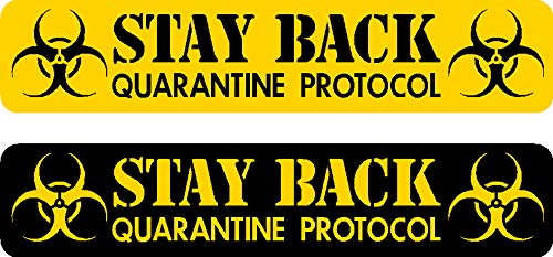 2 - pack, each decal .625 x 3 inch, Stay Back, Quarantine, protocol, biohazard, alert, Vinyl, Decal, Sticker, I Make Decals, perfect size for Hard Hat, face, shield, phone, tool, lunch, box