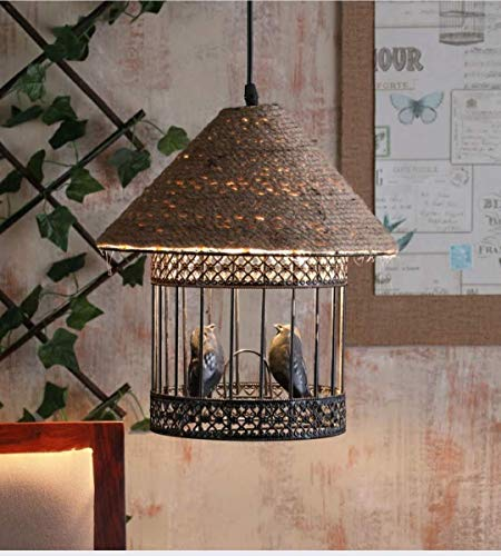 VRCT Love Bird Cage Vintage Edison Rope Ceiling Hanging Pendant Lights Lamp For Cafe Restaurant And Home Decorative (Black) ST64 BULB INCLUDED