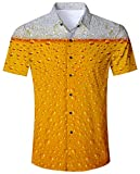 ALISISTER Bier Hawaiihemd Herren Orange 3D Urlaubshemden Button Down T-Shirts Aloha Bluse...