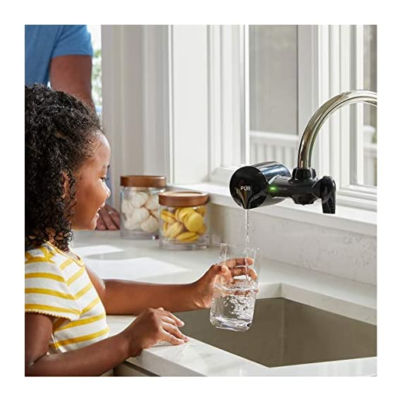 PUR PFM100B Faucet Water Filtration System, Horizontal, Black 7 PUR ADVANCED FAUCET WATER FILTER:PUR Advanced Faucet Filter in Chrome attaches to your sink faucet, for easy, quick access to cleaner, great-tasting filtered water. A CleanSensor Monitor displays filter status, so you know when it needs replacement. Dimensions: 6.75 W x 2.875 H x 5.25 L FAUCET WATER FILTER: PUR's MineralClear faucet filters are certified to reduce over 70 contaminants, including 99% of lead, so you know you're drinking cleaner, great-tasting water. They provide 100 gallons of filtered water, or 2-3 months of typical use WHY FILTER WATER? Home tap water may look clean, but may contain potentially harmful pollutants & contaminants picked up on its journey through old pipes. PUR water filters, faucet filtration systems & water filter pitchers reduce these contaminants