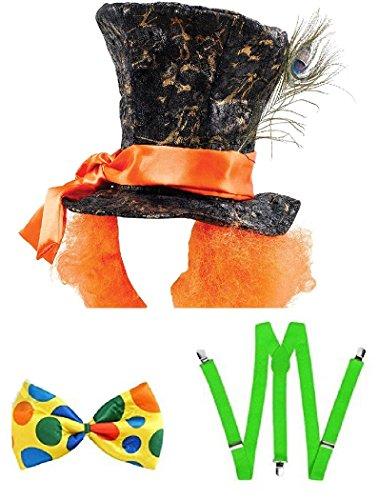 Mega_Jumble Sombrero loco de Alicia en el pas de las maravillas con pelo, tirantes verdes y pajarita gigante, Willie Wonka