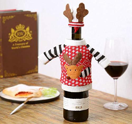 Botella de vino de Navidad Set Ornamento Alce Botella de vino tinto Cap Navidad Suéter Botella de vino Bolsa