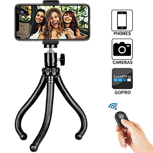 Soft digits Adjustable Mini Tripod, Flexible Tripod Camera Travel Tripod with Bluetooth Control, Universal Clip 360° Rotating Camera Stand Holder for GoPro and Small Camera