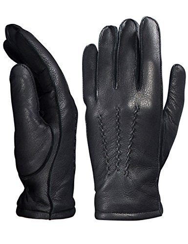 YISEVEN Men's Deerskin Leather Warm Fleece Lined Dress Classical Luxury Gloves Buckskin Genuine Three Points Fur Driving Motorcycle Three Point Winter Cold Heated Riding Work Gifts Black 10.0'/XL