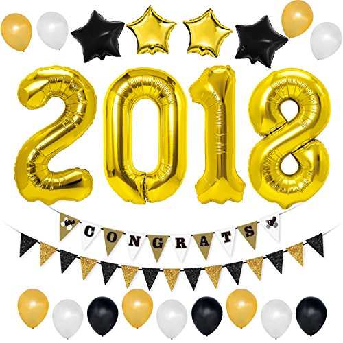 Unomor 2018 Party Decorations with Gold 2018 Balloons, Congrats Banner Gold Black and White Balloons for Events