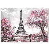 LYQSCL Leinwanddrucke,Schöne Rosa Kirschblüten Eiffelturm Landschaft Leinwand Malerei Hd-Drucken Poster Wall Art Modern Pop Art Bild Für Wohnzimmer Schlafzimmer Home Decor, 60 X 90 cm.