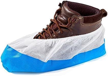 50 Cubiertas para zapato/Cubrezapatos con suela de 9 gramos, reforzada, antideslizante, extra resistente. Impermeable a líquidos, unitalla, buen ajuste, y sin frustraciones. Desechables.