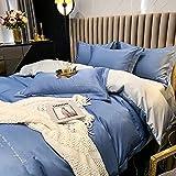 Bedding-LZ Juego De Ropa De Cama 135x190,Boceto Lavado Triple Four Set White Hotel Wind Summer Ice Silk Supplies-C_1,8 M De Cama (4 Piezas)