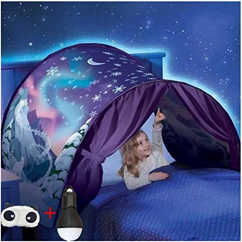 Tente de Lit Enfant Dream Tents - Tente de Rêve Enfants Pop Up Lit Tente Playhouse de Tente Apparaitre Intérieure Enfant Jouer Tentes Cadeaux de Noël (Flocon de Neige)