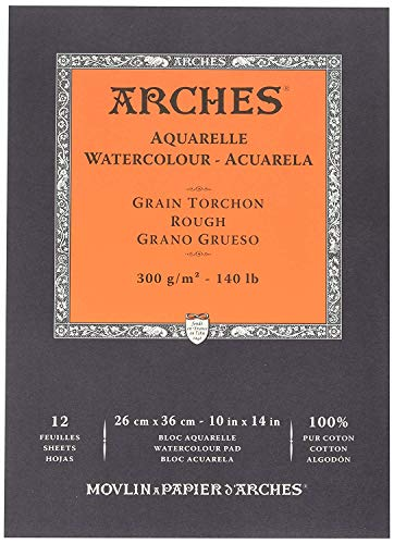 Arches Watercolor Paper Pad, 140 pound, Rough, 10'x14'