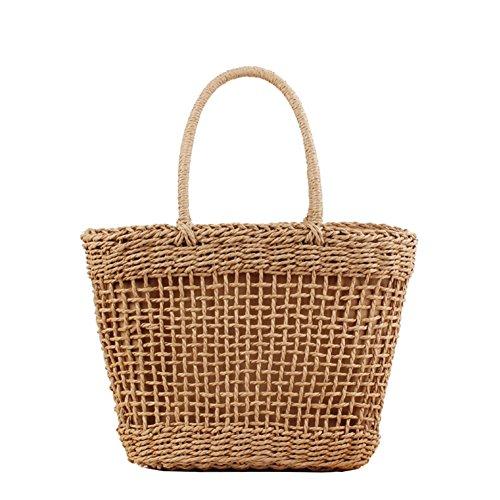FAIRYSAN - Borsa a tracolla in paglia da donna, in tessuto intrecciato, per la spesa, per la spiaggia, con coulisse, extra large, marrone