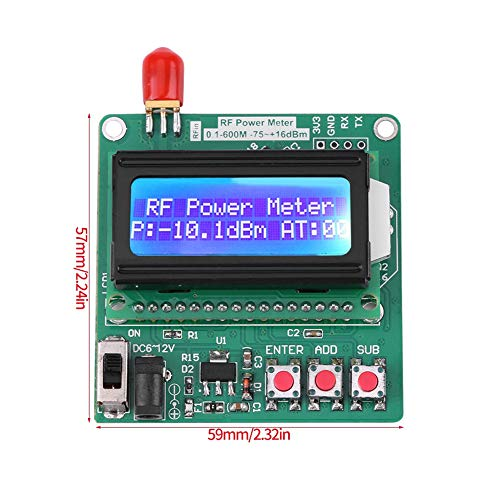 Vermogensmeter voor digitale display kan vermogen instellen, digitale LCD-vermogensmeter -75~16 dBm 1-600 MHz Radiofrequente verzwakkingswaarde voor energiebesparing