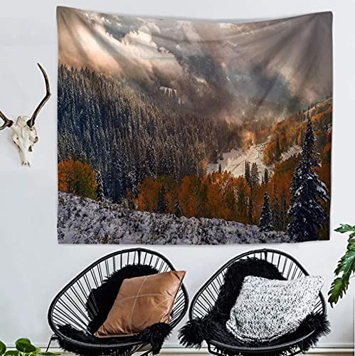 Tapiz Colgante De Pared Dormitorio Sala De Estar Decoración De Pared Tapices Estera De Yoga Toalla De Playa Manta Mantel 150X200Cm (Sunshine Forest)