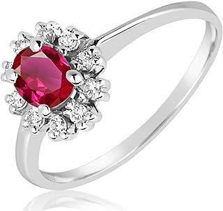 MILLE AMORI ∞ - Anello di fidanzamento da donna in oro e diamanti ∞ oro bianco 9 kt 375 diamanti 0,12 carati ∞ rubino sint...