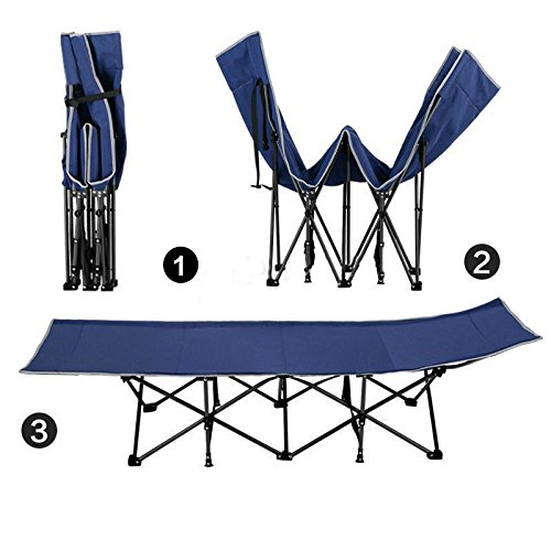 Kool Deluxe Camping Cot Portable Folding Beach Bed Lounge Chaise With Pillow and Storage Bag Blue
