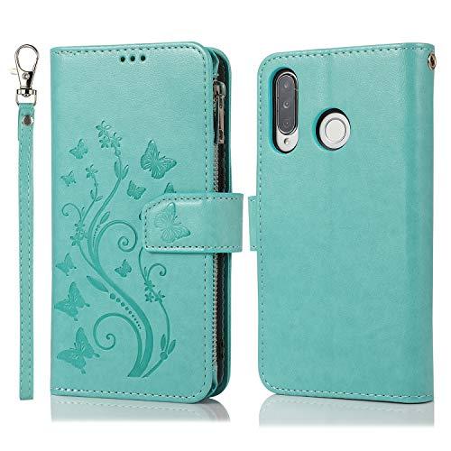 Nadoli Hülle Reißverschluss für Huawei P30 Lite,Retro Brieftasche Handytasche Pu Leder Schutzhülle mit Stand Kartenhalter Schutz Klappbörse mit Blumen Schmetterling Entwurf