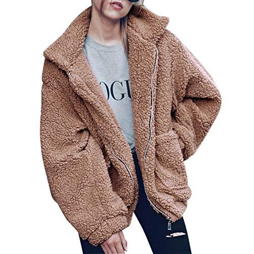 Parabler Damen Mantel Plüschjacke Winterjacke Steppjacke Fleecejacke Warmen Outwear Reißverschluss Langarm Cardigan Faux Parka Steetwear (Leichtes Khaki, EU 44/ XXL)