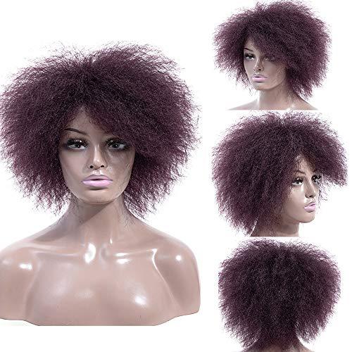 Morningsilkwig Synthetische Krullende Pluizige Pruiken voor Vrouwen Caps Pruiken Natuurlijke Ombre Korte Afro Pruik Afro-Amerikaanse 14 inch zwart haar
