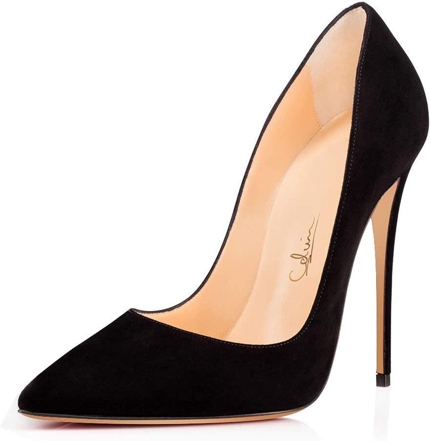 UMEXI 4.75  Pointed Toe High Heels Slip On Stilettos Wedding Party Pumps Dress shoes (11, Black Suede)