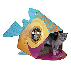 Image: Kitty City Bubble Window | Cat Scratcher House | Cat Cubby | Large Scratcher with Catnip | ideal spot for your fish-obsessed cat to play and relax