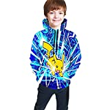 OPENG P-Okemon P-Ikachu Sweatshirts Boys Girl 3D Print Hooded Hoodies S Black