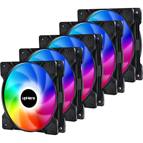 upHere 120mm Sync 5v 3pin ARGB PWM Ventilador de PC Caja de Ordenador,Silencioso-Paquete de 5