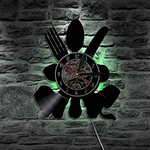 RIII Reloj de pared de vinilo reloj de pared de vinilo cuchillo de cocina tenedor cuchara mantel reloj de pared vajilla de pared arte colgante