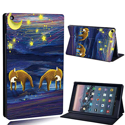 FINDING CASE For Amazon re HD 10 (5th 7th 9th Gen) Tablet - Printed PU Flip Leather Smart Lightweight Shell Stand Cover Case for re HD 10 (5th 7th 9th Gen) (twin fox and moon paint)