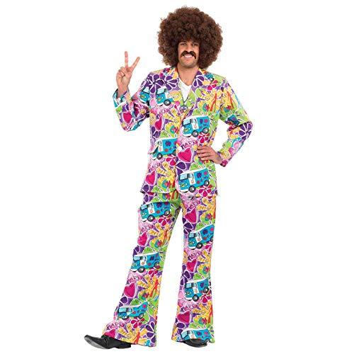 Fun Shack Lila Hippie Kostüm für Herren, 70er Jahre Anzug, Halloween und Karneval - M