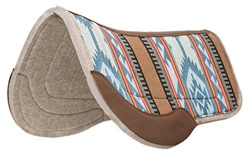 Weaver Leather Canvas Trail Saddle Pad - Wool Felt Liner Blue/Brown, 29' x 34'