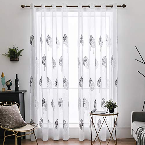MIULEE 2 Panels Leaves Embroidery Sheer Curtains Grommet Window Curtain Semi Voile Drapes Panels for Living Room Bedroom Big Leaves Grey 55' Wx88 L
