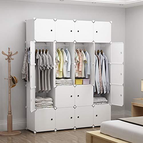 GEORGE&DANIS Portable Wardrobe Closet Cube Storage Plastic Dresser Organizer Carbinet Shelf DIY Furniture, White, 18 inches Depth, 4x5 Tiers