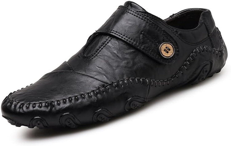 CHENDX Schuhe, Herrenmode aus echtem Leder Müiggnger Casual Flache Ferse Magische Paste Octopus rutschfeste Sohle Stiefel Mokassins (Farbe   Schwarz, Gre   44 EU)