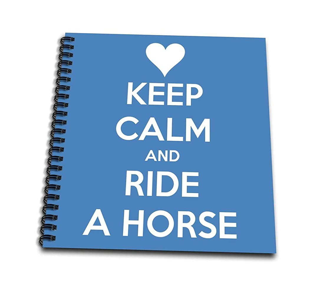 3dRose db_171903_2 Keep Calm and Ride a Horse, Blue and White Memory Book, 12 by 12-Inch