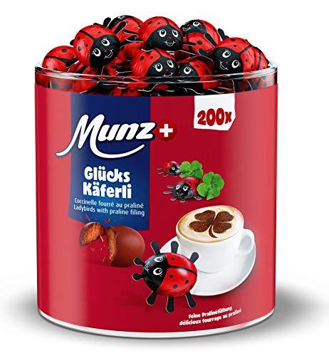 Munz Praline Glückskäfer | Schweizer Schokolade | Milchschokolade | Schokoladenkäfer | 100% natürlich | Thekendisplay ca. 200 x 4,7g | 1 kg Großpackung | Ideal als Geschenk oder für Gäste