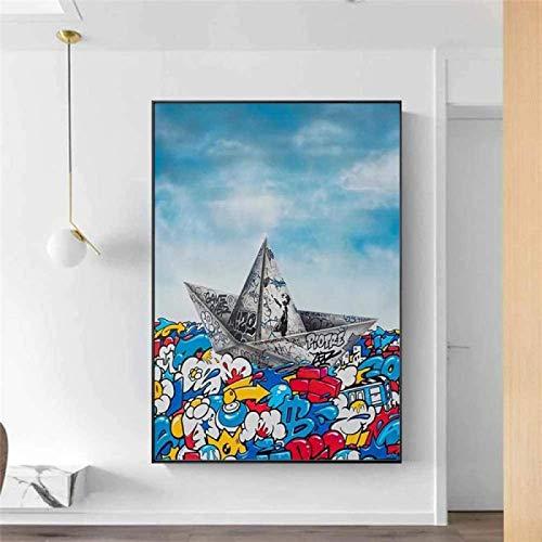 SHKHJBH Póster de Lienzo Graffiti Papel Origami Barco Navegación Arte Pintura Moda Imagen de Pared Sala de Estar nórdica Decoración del hogar Póster 20x30cm sin Marco
