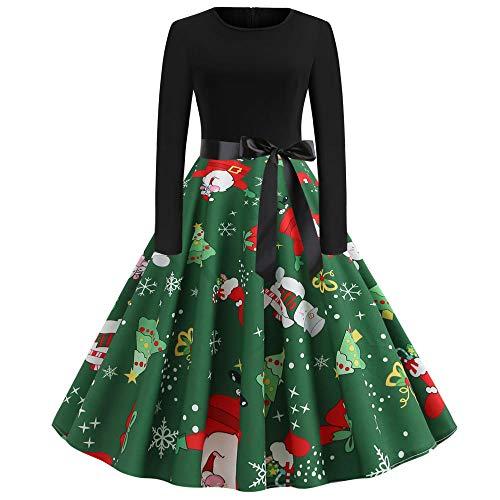 Averyshowya Disfraces para Adultos y Bebes Vestido de Mujer Vintage de Manga Larga con Estampado de Calabaza Vestido de Halloween Túnica de Cintura Alta Vestidos Casuales Mujer @H_M