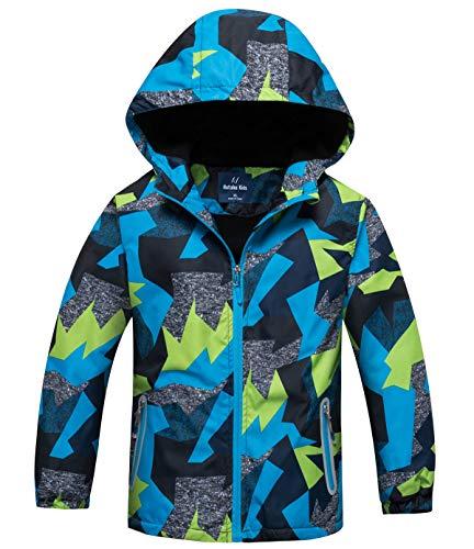 Veste Coupe-Vent Enfant Softshell Polaire Vetement de Mi-Saison Jacket de Snow Veste de Ski Manteau Veste de Randonnée Parka Hiver,Bleu 3,9-10 ans/150(XXL)