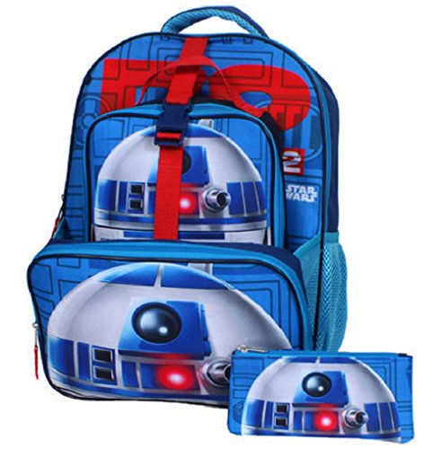 Star Wars R2d2 16' Backpack, Lunch Tote, Pencil Case - Blue - 16'