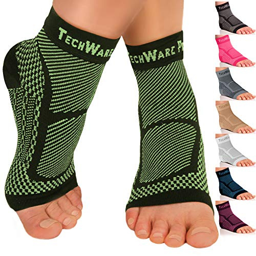 TechWare Pro Ankle Brace Compression Sleeve - Relieves Achilles Tendonitis, Joint Pain. Plantar Fasciitis Foot Sock with Arch Support Reduces Swelling & Heel Spur Pain. (Black/Green, L/XL)